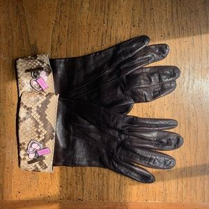 COACH Leather and Cashmere Hearts Snakeskin Gloves